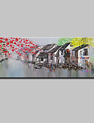 Недорогие -Ручная роспись Пейзаж Горизонтальная, Простой Modern холст Hang-роспись маслом Украшение дома 1 панель