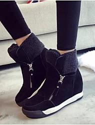Недорогие -Для женщин Обувь Полиуретан Зима Осень Удобная обувь Ботинки Плоские Круглый носок Закрытый мыс Сапоги до середины икры для Повседневные