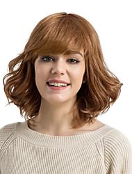 cheap -Human Hair Capless Wigs Human Hair Curly Deep Wave With Bangs Side Part Medium Machine Made Wig Women's