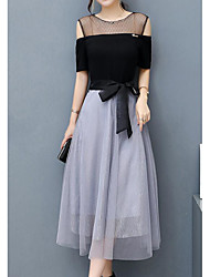 Недорогие -Жен. Простой А-силуэт Платье - Контрастных цветов Выше колена