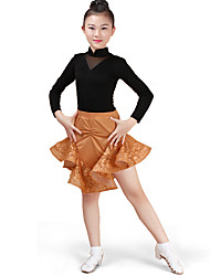 cheap -Latin Dance Outfits Performance Cotton Pattern / Print Ruching Long Sleeves High Skirts Leotard / Onesie