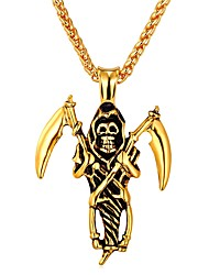 cheap -Men's Pendant Necklace - Stainless Steel Skull Vintage, Gothic Gold, Silver Necklace One-piece Suit For Carnival, Street