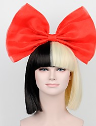 cheap -celebrity with the latest models Qi bangs black gold wig Red bow