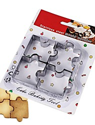 cheap -4pcs Cake Mold Stainless Steel Puzzle Piece Cookie Cutter Frame Pastry Biscuit Fondant Sugarcraft Mould