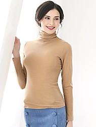 economico -T-shirt Per donna Quotidiano Semplice Primavera,Tinta unita Girocollo Nylon Maniche lunghe