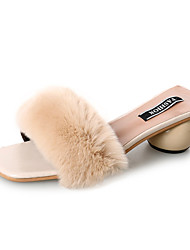 cheap -Shoes Feather / Fur Spring Comfort Slippers & Flip-Flops Low Heel for Black Beige Coffee