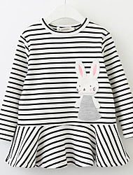 cheap -Girl's Daily School Solid Striped Floral Dress, Cotton Spring Summer Long Sleeves Cute Casual White Black