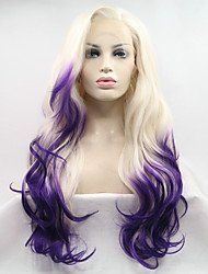 cheap -Sylvia Fashion Long Ombre Blonde To Purple Synthetic Lace front Wig Wavy Natural Hairlines Party Costume Wig