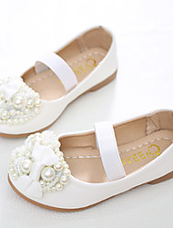 cheap -Girls' Shoes PU Spring / Fall Comfort / Novelty / Flower Girl Shoes Flats Bowknot / Beading / Pearl for White / Pink / Party & Evening