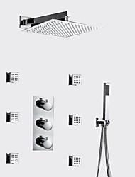 abordables -Moderne Montage mural Thermostatique Soupape en laiton 3 trous Trois poignées trois trous Chrome , Robinet de douche