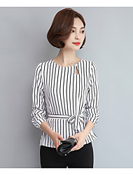 cheap -Women's Going out Cute Blouse,Solid Striped Round Neck Long Sleeves Cotton Polyester