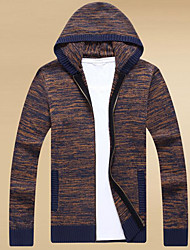 cheap -Men's Going out Casual Long Cardigan,Solid Hooded Long Sleeves Polyester Spring Fall Thick Micro-elastic