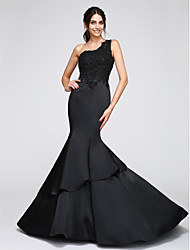 cheap -Mermaid / Trumpet One Shoulder Chapel Train Satin Formal Evening Dress with Appliques by TS Couture®