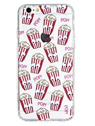 Недорогие -Кейс для Назначение Apple iPhone 6 iPhone 7 Полупрозрачный Рельефный Своими руками Кейс на заднюю панель Продукты питания 3D в мультяшном