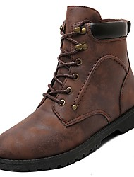 cheap -Men's Shoes Cowhide Winter Combat Boots Boots Mid-Calf Boots for Outdoor Black Gray Brown