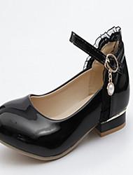 Mujer Zapatos Semicuero Primavera / Otoño Confort / Innovador Bailarinas Tacón Plano Dedo redondo Perla de Imitación Blanco / Negro 9qTAKalM