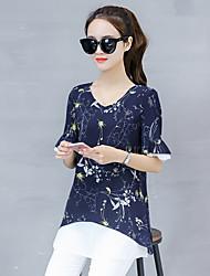 Недорогие -женская полиэфирная свободная блузка - цветочная, основная
