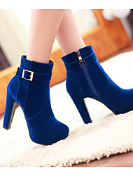 baratos -Mulheres Sapatos Pele Nobuck Outono Inverno Botas da Moda Conforto Botas Salto Robusto Botas Curtas / Ankle para Preto Vermelho Azul