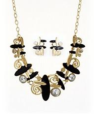 abordables -Mujer Zirconia Cúbica Conjunto de joyas - Diamante Sintético Clásico, Moda, Elegante Incluir Pendientes cortos / Collar Negro / Beige Para Ceremonia / Formal