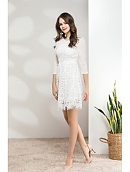 cheap -Women's Cute Casual Sheath Lace Dress - Solid Colored, Lace Mesh High Waist