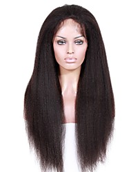 cheap -Virgin Human Hair Lace Front Wig Brazilian Hair kinky Straight With Baby Hair 130% 150% 180% Density African American Wig Short Long Mid
