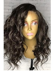 cheap -Human Hair Brazilian Lace Wig Natural Wave Bob Haircut Glueless Full Lace With Baby Hair Side Part Natural Hairline 130% Density Natural