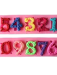 abordables -2pcs nombres 3d moule de gâteau de silicone avec le trou de bâton antiadhésive moule de décoration de gâteau