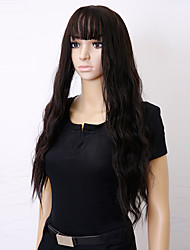 cheap -Synthetic Wig Curly With Bangs Synthetic Hair Highlighted / Balayage Hair Black / Brown / Gray Wig Long Capless