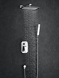 Недорогие -Современный Душевая система Дождевая лейка Ручная лейка входит в комплект Одной ручкой четыре отверстия Хром, Смеситель для душа