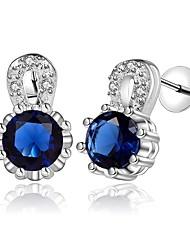 baratos -Mulheres Zircônia Cubica Zircão / Prata Chapeada Brincos Curtos - Fashion / Doce Prata / Azul Escuro Formato Circular Brincos Para