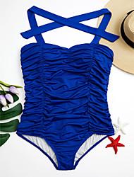 abordables -Femme Couleur Pleine A Bretelles Une-pièce Maillots de Bain Uni Noir Bleu de minuit Violet Rouge Bleu royal