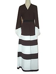 abordables -Mode Robe caftan Abaya Robe Arabe Femme Fête / Célébration Déguisement d'Halloween Marron Rayé