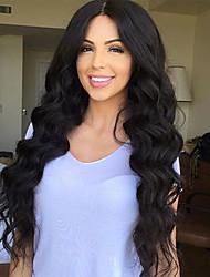 Недорогие -Необработанные Бесклеевая кружевная лента Парик Бразильские волосы / Свободные волны Парик 130% Природные волосы / Парик в афро-американском стиле Жен. Длинные
