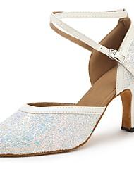 baratos -Sapatos de Dança Moderna Paetês / Couro Sintético Sandália / Salto Laços Salto Personalizado Personalizável Sapatos de Dança Branco