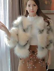 Недорогие -Жен. Куртка V-образный вырез Однотонный, Хлопок Крупногабаритные