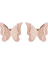 abordables -Mujer Pendientes cortos - Acero inoxidable Mariposa Coreano, Elegante Oro Rosa Para Diario