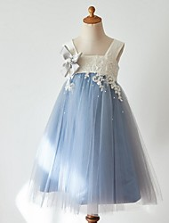 cheap -Ball Gown Knee Length Flower Girl Dress - Tulle Sleeveless Strap with Beading Appliques by Thstylee