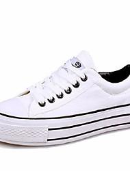 Недорогие -Жен. Обувь Полотно Весна / Осень Удобная обувь Кеды На плоской подошве Круглый носок Белый / Черный / Темно-синий
