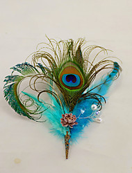 """cheap -Wedding Flowers Boutonnieres Headdress Artificial Flower Brooches & Pins Wedding Event/Party Fabrics Feathers 1 Inch 7.48""""(Approx.19cm)"""