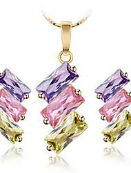 abordables -Femme Zircon Zircon Ensemble de bijoux 1 Collier / Boucles d'oreille - Classique / Mode Irrégulier Or Boucles d'oreille goujon /