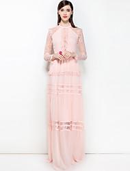 abordables -Mujer Básico / Boho Corte Swing Vestido Color sólido Maxi Escote Chino