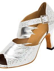 Недорогие -Жен. Обувь для латины Лак / Искусственная кожа Сандалии / На каблуках Профессиональный стиль Планка Каблуки на заказ Персонализируемая