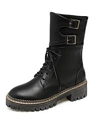 Недорогие -Жен. Обувь Полиуретан Зима Осень Удобная обувь Оригинальная обувь Армейские ботинки Ботинки На низком каблуке Круглый носок Ботинки