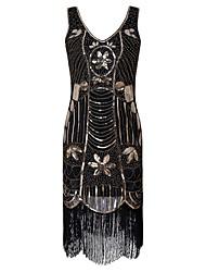 billige -1920'erne / Den store Gatsby Kostume Dame Flapper Dress Sort Vintage Cosplay Polyester Kortærmet Kappe / Blomstret / Pailletter / Kvast
