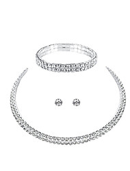 cheap -Women's Jewelry Set Rhinestone Alloy Circle Fashion European Wedding Party 1 Necklace 1 Bracelet Earrings Costume Jewelry