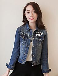 cheap -Women's Vintage Denim Jacket Print Shirt Collar