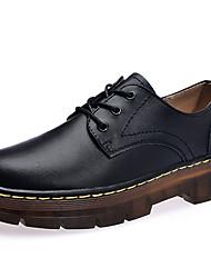 baratos -Mulheres Sapatos Couro Primavera / Verão Conforto Oxfords Sem Salto Botas Cano Médio Preto / Vinho