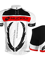 cheap -Nuckily Short Sleeves Cycling Jersey with Shorts - White Bike Shorts Jersey Clothing Suits, Waterproof, Ultraviolet Resistant,