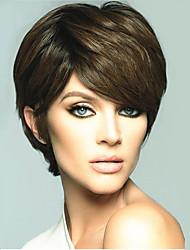 abordables -Perruque Synthétique Droit Coupe Lutin Cheveux Synthétiques Partie latérale Marron Perruque Femme Court Sans bonnet