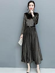 cheap -Women's Swing Dress - Striped / Check Maxi Stand